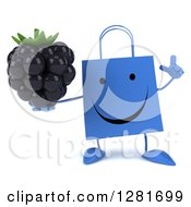 Clipart Of A 3d Happy Blue Shopping Or Gift Bag Character Holding Up A Finger And A Blackberry Royalty Free Illustration
