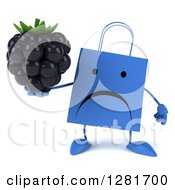 Clipart Of A 3d Unhappy Blue Shopping Or Gift Bag Character Holding A Blackberry Royalty Free Illustration