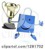 Clipart Of A 3d Happy Blue Shopping Or Gift Bag Character Jumping And Holding A Trophy Royalty Free Illustration