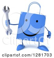 Clipart Of A 3d Happy Blue Shopping Or Gift Bag Character Holding A Wrench Royalty Free Illustration