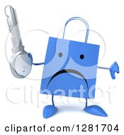 Clipart Of A 3d Unhappy Blue Shopping Or Gift Bag Character Holding A Thumb Down And A Key Royalty Free Illustration