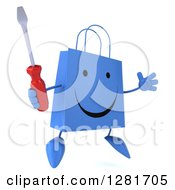 Clipart Of A 3d Happy Blue Shopping Or Gift Bag Character Facing Slightly Right Jumping And Holding A Screwdriver Royalty Free Illustration