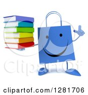 Clipart Of A 3d Happy Blue Shopping Or Gift Bag Character Holding Up A Finger And Stack Of Books Royalty Free Illustration