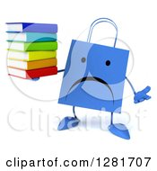 Clipart Of A 3d Unhappy Blue Shopping Or Gift Bag Character Shrugging And Holding A Stack Of Books Royalty Free Illustration