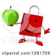 Clipart Of A 3d Happy Red Shopping Or Gift Bag Character Shrugging And Holding A Green Apple Royalty Free Illustration