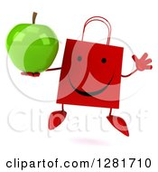 Clipart Of A 3d Happy Red Shopping Or Gift Bag Character Jumping And Holding A Green Apple Royalty Free Illustration