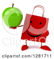 Clipart Of A 3d Happy Red Shopping Or Gift Bag Character Holding And Pointing To A Green Apple Royalty Free Illustration