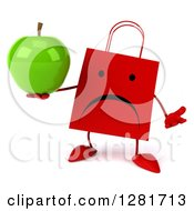Clipart Of A 3d Unhappy Red Shopping Or Gift Bag Character Shrugging And Holding A Green Apple Royalty Free Illustration