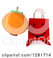 Clipart Of A 3d Happy Red Shopping Or Gift Bag Character Holding Up An Orange Royalty Free Illustration
