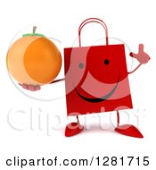Clipart Of A 3d Happy Red Shopping Or Gift Bag Character Holding Up A Finger And An Orange Royalty Free Illustration