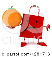 Clipart Of A 3d Unhappy Red Shopping Or Gift Bag Character Holding A Thumb Down And An Orange Royalty Free Illustration