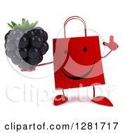 Clipart Of A 3d Happy Red Shopping Or Gift Bag Character Holding Up A Finger And A Blackberry Royalty Free Illustration
