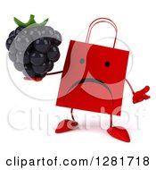 Clipart Of A 3d Unhappy Red Shopping Or Gift Bag Character Shrugging And Holding A Blackberry Royalty Free Illustration