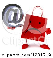 Clipart Of A 3d Unhappy Red Shopping Or Gift Bag Character Holding And Pointing To An Email Symbol Royalty Free Illustration