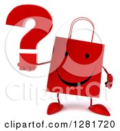 Clipart Of A 3d Happy Red Shopping Or Gift Bag Character Holding A Question Mark Royalty Free Illustration