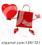 Clipart Of A 3d Happy Red Shopping Or Gift Bag Character Jumping And Holding A Heart Royalty Free Illustration