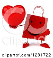 Clipart Of A 3d Happy Red Shopping Or Gift Bag Character Holding And Pointing To A Heart Royalty Free Illustration