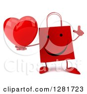 Clipart Of A 3d Happy Red Shopping Or Gift Bag Character Holding Up A Finger And A Heart Royalty Free Illustration