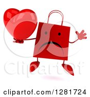 Clipart Of A 3d Unhappy Red Shopping Or Gift Bag Character Jumping And Holding A Heart Royalty Free Illustration