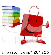 Clipart Of A 3d Happy Red Shopping Or Gift Bag Character Holding A Thumb Up And Stack Of Books Royalty Free Illustration