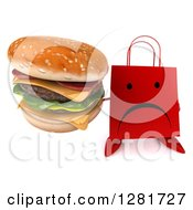 Clipart Of A 3d Unhappy Red Shopping Or Gift Bag Character Holding Up A Double Cheeseburger Royalty Free Illustration