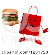 Clipart Of A 3d Unhappy Red Shopping Or Gift Bag Character Shrugging And Holding A Double Cheeseburger Royalty Free Illustration