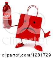 Clipart Of A 3d Unhappy Red Shopping Or Gift Bag Character Shrugging And Holding A Soda Bottle Royalty Free Illustration