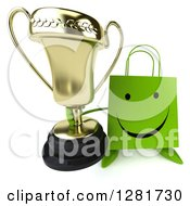 Clipart Of A 3d Happy Green Shopping Or Gift Bag Character Holding Up A Trophy Royalty Free Illustration