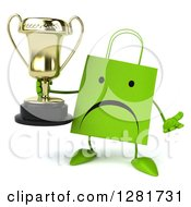 Clipart Of A 3d Unhappy Green Shopping Or Gift Bag Character Shrugging And Holding A Trophy Royalty Free Illustration