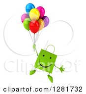Clipart Of A 3d Happy Green Shopping Or Gift Bag Character Floating With Party Balloons Royalty Free Illustration