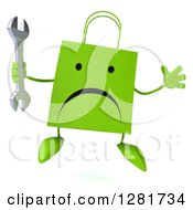 Clipart Of A 3d Unhappy Green Shopping Or Gift Bag Character Jumping With A Wrench Royalty Free Illustration