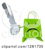 Clipart Of A 3d Unhappy Green Shopping Or Gift Bag Character Holding Up A Key Royalty Free Illustration