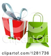 Clipart Of A 3d Happy Green Shopping Or Gift Bag Character Holding Up A Present Royalty Free Illustration