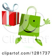 Clipart Of A 3d Happy Green Shopping Or Gift Bag Character Jumping And Holding A Present Royalty Free Illustration