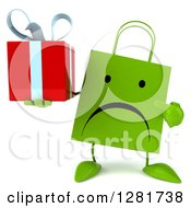 Clipart Of A 3d Unhappy Green Shopping Or Gift Bag Character Holding And Pointing To A Present Royalty Free Illustration