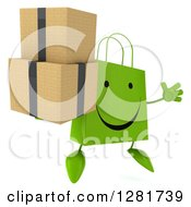 Clipart Of A 3d Happy Green Shopping Or Gift Bag Character Facing Slightly Right Jumping And Holding Boxes Royalty Free Illustration