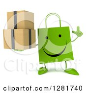 Clipart Of A 3d Happy Green Shopping Or Gift Bag Character Holding Up A Finger And Boxes Royalty Free Illustration