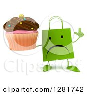 Clipart Of A 3d Unhappy Green Shopping Or Gift Bag Character Holding Up A Finger And A Chocolate Frosted Cupcake Royalty Free Illustration