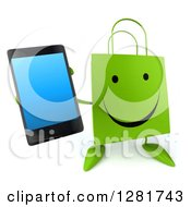 3d Happy Green Shopping Or Gift Bag Character Holding Up A Smart Cell Phone