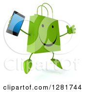 3d Happy Green Shopping Or Gift Bag Character Facing Slightly Right Jumping And Holding A Smart Cell Phone