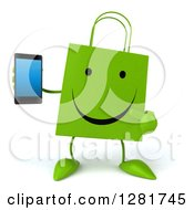 3d Happy Green Shopping Or Gift Bag Character Holding And Pointing To A Smart Cell Phone