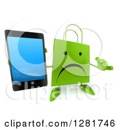 3d Unhappy Green Shopping Or Gift Bag Character Gesturing Call Me And Holding Up A Smart Cell Phone