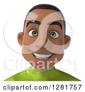Clipart Of A 3d Happy Young Black Male Super Hero In A Green Suit From The Shoulders Up Royalty Free Vector Illustration