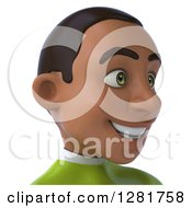 Clipart Of A 3d Happy Young Black Male Super Hero In A Green Suit Facing Right From The Shoulders Up Royalty Free Vector Illustration