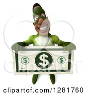 Clipart Of A 3d Male Black Super Hero In Green Holding Up A Large Dollar Bill Royalty Free Vector Illustration