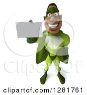 Clipart Of A 3d Male Black Super Hero In Green Holding Up A Business Card Royalty Free Vector Illustration