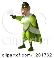 Clipart Of A 3d Male Black Super Hero In Green Facing Left And Holding Out A Business Card Royalty Free Vector Illustration