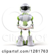 Clipart Of A 3d White And Green Robot Reading A Book Royalty Free Illustration