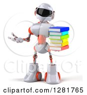 Clipart Of A 3d White And Orange Robot Presenting And Holding A Stack Of Books Royalty Free Illustration