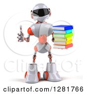 Clipart Of A 3d White And Orange Robot Holding A Thumb Up And Stack Of Books Royalty Free Illustration